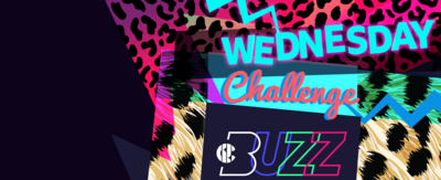 Text reads 'Wednesday Challenge', plus the Buzz logo which each letter has a different colour. There are various animal prints in the background.