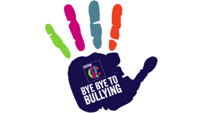 Bye Bye to Bullying logo, a hand with multi-coloured fingers.