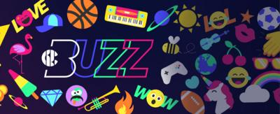 CBBC Buzz logo surrounded by colourful Buzz stickers on a purple background.