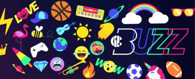 CBBC BUZZ. Colourful graphics of unicorns, beach balls, rainbows, sunglasses and emojis.