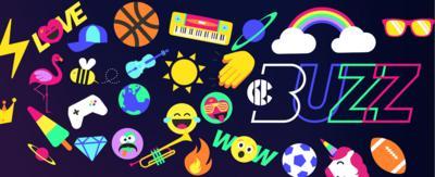 CBBC BUZZ. Colourful graphics of unicorns, beach balls, rainbows, sunglasses and emojis.