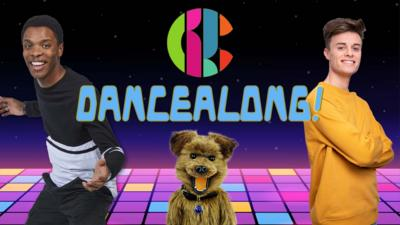 the cbbc logo and the word 'dancealong' on a dance floor with rhys joe and hacker