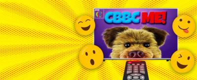 """CBBC HQ. TV with Hacker on and smiley faces all around it with the words """"CBBC ME"""" in the screen."""