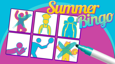 A stickman bingo card and the text 'Summer Bingo'. Two stickmen have been crossed out.