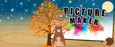 Text reads 'picture maker'. There is an illustration of a bear, a headgehog and an owl. There is a tree with orange leaves to represent autumn. There is a moon in the corner.