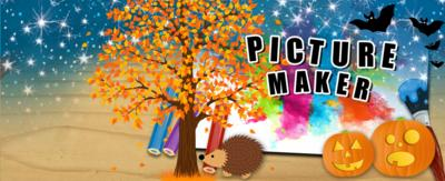 CBBC Picture Maker surrounded by pumpkins, bats, a hedgehog and autumnal tree.