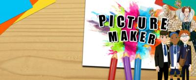 Text reads 'picture maker'. There are stickers of characters from the Horrible Histories game and Jamie Johnson game, with summer grass across the bottom of the image.