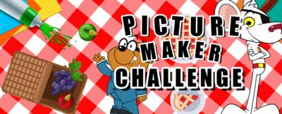 "A picnic blanket background with a cartoon mouse (Danger Mouse) and a cartoon mole (Penfold). An open picnic basket shows grapes and apples, and a cherry pie with a slice cut out on a plate. text reads :""Picture Maker Challenge."""