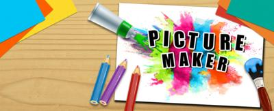 CBBC Picture Maker, paint splat surrounded by pencils and paintbrushes.