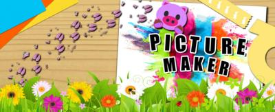Picture Maker text, with flowers, new spring themed tape, and muddy pig emoji.