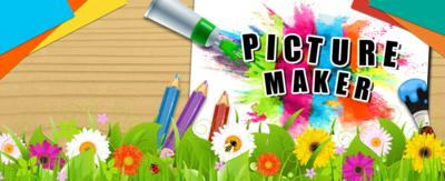 CBBC Picture Maker logo splashed onto a piece of paper with colourful paint and spring grass and flowers at the bottom.
