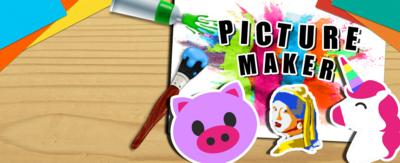 Text reads 'picture maker'. There is an emoji pig and unicorn with a painted image of Mona Lise. There are artwork pages in the background.