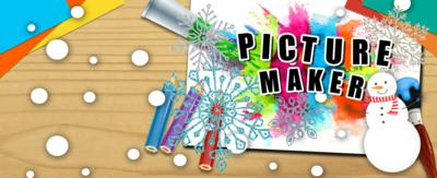the Picture Maker logo surrounded with paintbrushes, pencils, paper and snowflakes and snow.