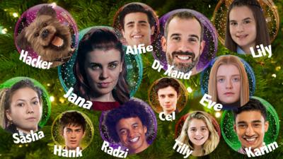 12 Christmas baubles with different CBBC Faces in them.