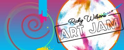 Ricky's Art Jam logo on a multicoloured background.