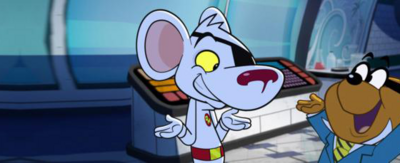 Danger Mouse and Penfold shrugging whilst looking at each other.