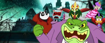 A green frog wearing a purple jacket snarls with characters behind him A panda in a red top looking confused, a robotic toilet looking angry, a Queen bug with wings and green hair, a flying poodle in a pink dress and a vampire duck wearing a cape. (Baron Von Greenback, Pandaminion, Dr Loocifer, Queen of Weevils, The Princess, and Count Duckula).