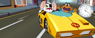 A white mouse (Danger Mouse) and a brown mole in a suit (Penfold) speed away in a right yellow car, chased by a stopwatch.