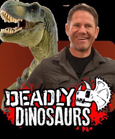 Steve and a dinosaur with the Deadly Dinosaur logo.