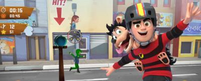 Dennis & Gnasher riding on a skateboard standing in front of a wooden board which shows game footage of the Dennis & Gnasher: Leg It app.