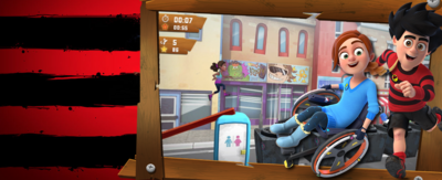 Image of Dennis Leg It game with JJ as player. Dennis and Rubi characters next to game play.