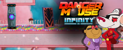 Text reads 'Danger Mouse Infinity'. There are images of Sinister Mouse and Baron Silas Von Penfold - the two new villains in the update to the Danger Mouse game.