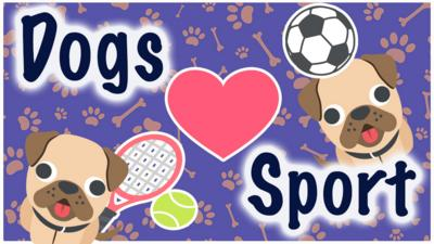 Emoji dogs on a background with paws and bones, the title dog's love sport.