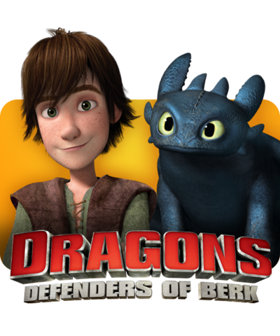Hiccup and Toothless with the Dragons - Defenders of Berk logo