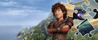 Hiccup stood in front of a jigsaw.