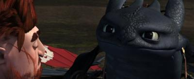Toothless looking confused.