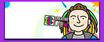 An illustration of a young girl with brightly coloured hair is smiling to the camera. Next to her is the title: How to draw Sasha from The Dumping Ground on the Creative Lab