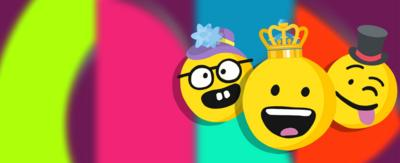 Three emoji faces, smiling with a crown, a floral bonnet and a top hat.