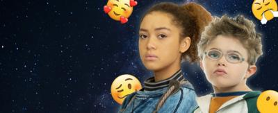 Julia and Finn surrounded by emojis.