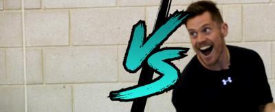 John Farnworth and Daniel Cutting with a 'vs' logo in between them.