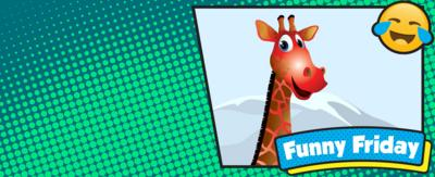 Red cartoon giraffe in box on left. Green background.