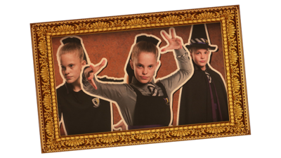 Framed picture of a girl in school uniform and witch's costume in three poses. Ethel from The Worst Witch.