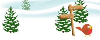 Cartoon robin in snowy landscape. Sign is pointing to North Pole and Chapter 3.