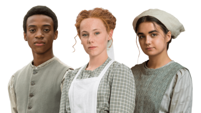 Hetty Feather, Gideon and Sheila from Hetty Feather.