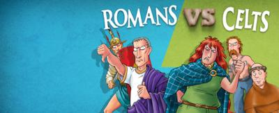 Cartoon game graphics of Roman soldiers standing next to Celtic warriors.