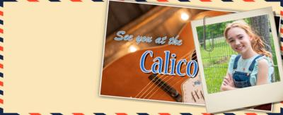 A girl in a photo and a guitar with text that reads Calico Cafe.