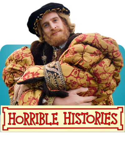 Henry VII and the Horrible Histories logo.