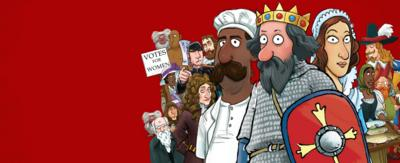 Characters from Horrible Histories.