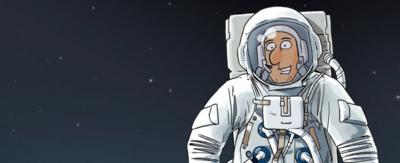 An illustrated astronaut.