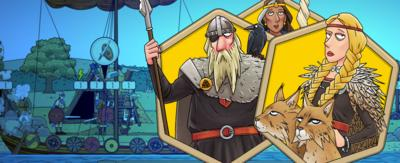 Illustrated characters (Norse Gods) in front of a ship.