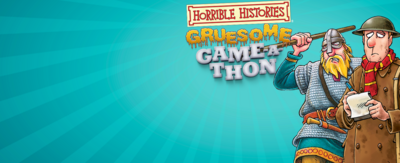 Blue background with words that read 'horrible histories gruesome game-a-thon'. There are two illustrations, one of a roman in a shield, helmet and spear, and one dressed in old arm uniform.