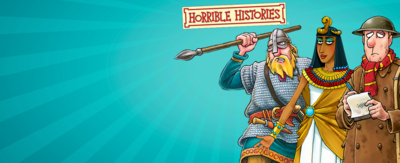 Blue background with words that read 'horrible histories'. There are three illustrations, one of a roman in a shield, helmet and spear, one of a person dressed in old arm uniform, and the final looks like cleopatra.
