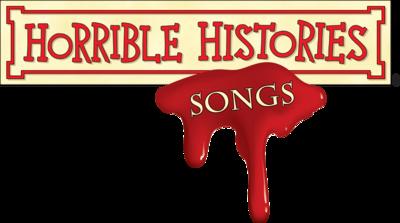 Horrible Histories logo with blood splatter.