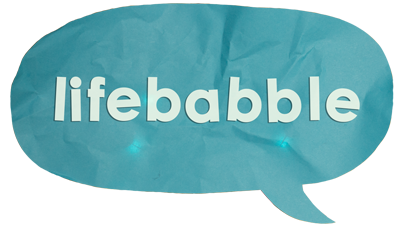 Lifebabble written in a blue speech bubble.