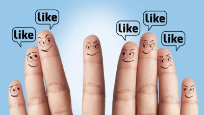 fingers with faces with speech bubbles saying like