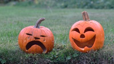 Two pumpkins with carved faces one happy one sad